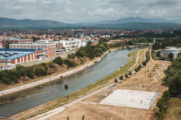 View on a Nišava river passing through the city of Niš in southern Serbia, Europe