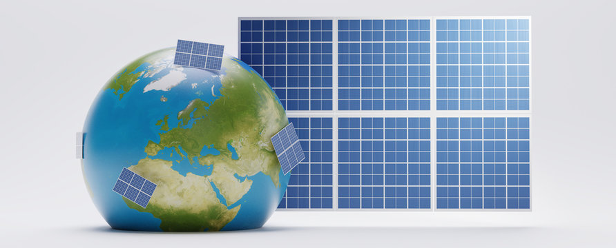 planet earth world globe with solar panel backdrop 3d-illustration. elements of this image furnished by NASA
