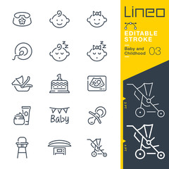 Lineo Editable Stroke - Baby and Childhood line icons