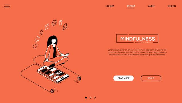 Mindfulness - line design style isometric web banner
