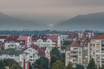 View on a city of Niš and background mountains on a cloudy morning