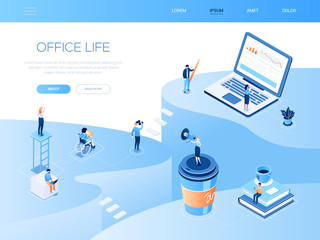 Office life - colorful isometric vector web banner