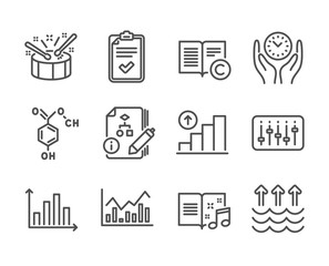 Set of Education icons, such as Copyright, Graph chart, Checklist, Safe time, Music book, Drums, Chemical formula, Dj controller, Infochart, Evaporation, Algorithm, Diagram graph. Vector