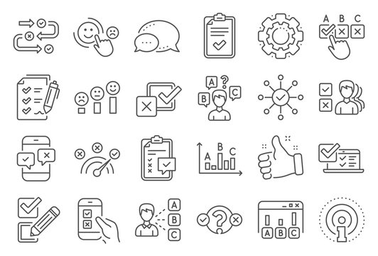 Survey, Report review line icons. Opinion, Customer satisfaction feedback and Test icons. Checklist review, Quiz and Business report symbols. Evaluation quiz, Feedback chart, Management. Vector