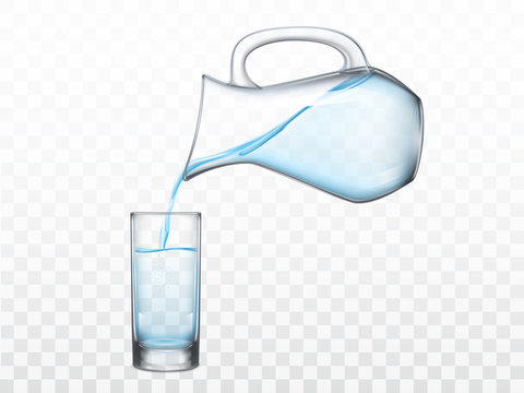 Pouring crystal clear freshwater from glass jug in highball drinking glass 3d realistic vector illustration isolated on transparent background. Refreshing, quenching thirst concept design element