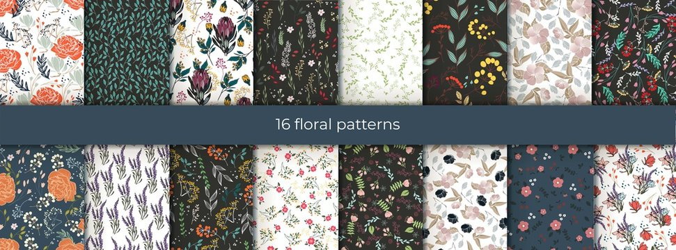 Set of vector abstract seamless simple floral patterns. Flower pattern. Spring pattern. Pattern for textiles or for cover. Wallpaper.