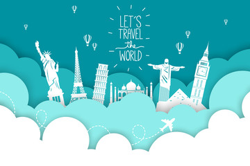 Travel by airplane. World Travel. Planning summer vacations. Tourism and vacation theme. Fototapete