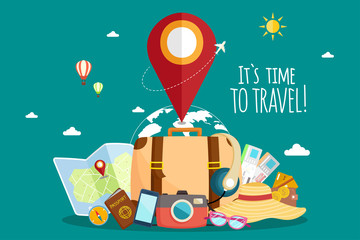 Travel by airplane. World Travel. Planning summer vacations. Tourism and vacation theme. Fotobehang