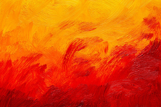 Abstract red, orange and yellow oil painting brush strokes