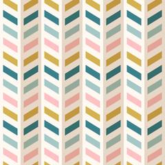 Fashion abstract chevron pattern. Seamless vector fabric design. Retro mid century colors.