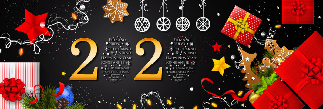 2020 New Year in Different Languages (Bonne Année, Frohes Neues Jahr, Feliz Año Nuevo, С Новым Годом, and Szczęśliwego Nowego Roku). Happy New Year greeting card. 2020 Happy New Year background.