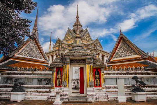 Views of Wat Pho temple in Bangkok Thailand