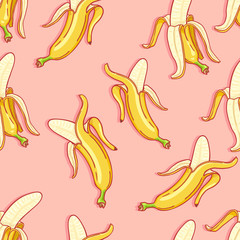 Vector Seamless Pattern of Cartoon Bananas on Pink Background