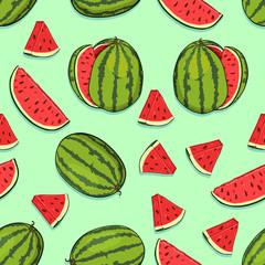 Vector Seamless Pattern of Cartoon Watermelons
