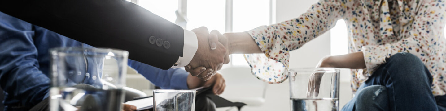 Business partners shaking hands in a meeting