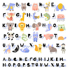 1Funny Alphabet for young children with names and pictures of animals assigned to each letter. Learning English for kids concept with a font in black letters in vector