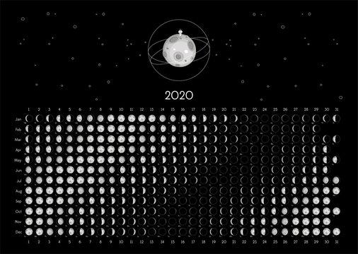 Moon Calendar 2020 Southern Hemisphere black