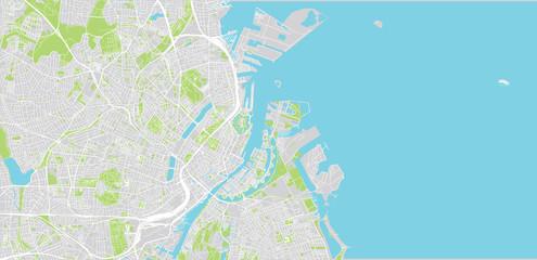 Urban vector city map of Copenhagen, Denmark Fototapete
