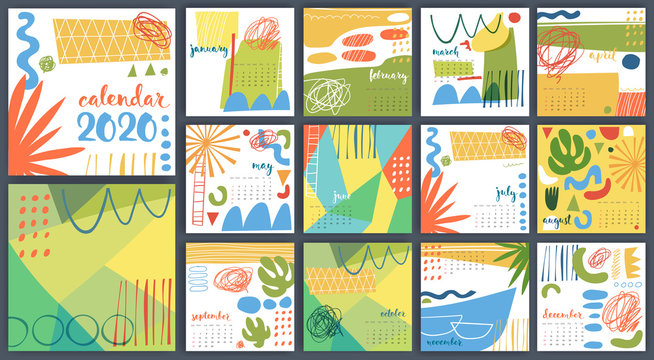 Hand drawn abstract vector 2020 calendar template multicolored.