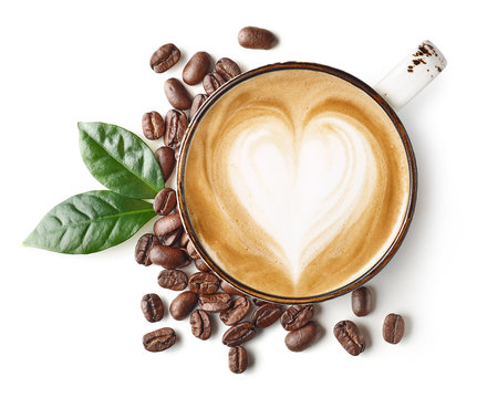 Coffee latte or cappuccino art with heart shape
