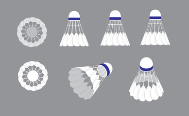 Various Sides Shuttlecock Badminton Vector Illustration
