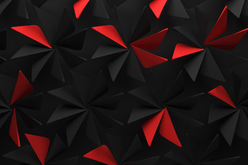 abstract fan blade rotation dark black red background pattern 3d illustration.