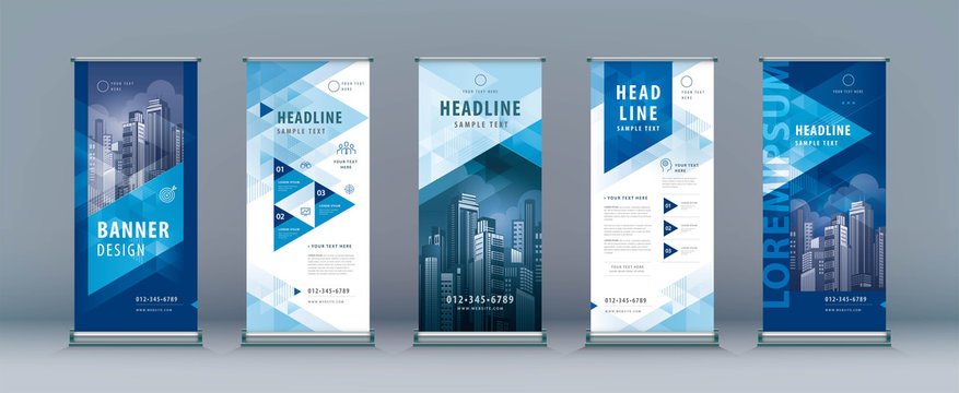 Business Roll Up Set. Standee Design. Banner Template, Abstract Geometric Triangle Background vecto