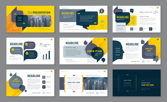 Abstract Presentation Templates, Infographic Black and Yellow elements Template design set