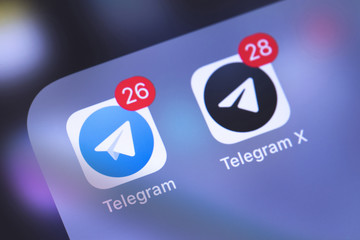 Telegram apps icons on the screen smartphone. Telegram is an online social media network. Moscow, Russia - October 14, 2018