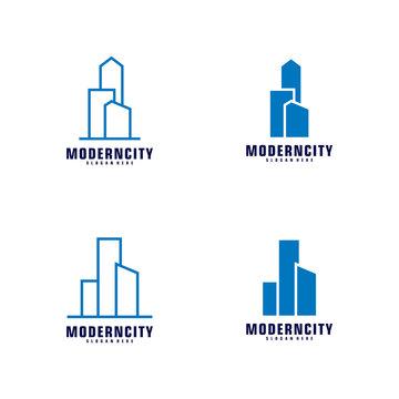 Set Of Modern City Logo Design Template. Skyline Design Vector Illustration