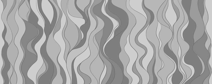 Seamless wallpaper on horizontally surface. Wavy background. Hand drawn waves. Black and white illustration