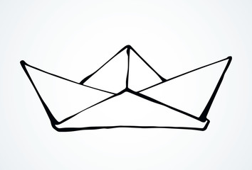 Toy paper boat. Vector drawing