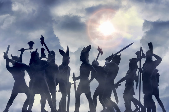 Two ghostly groups of Viking Gods in the morning haze, ready for battle, sky with storm clouds and bright sun, Old Norse myths about Odin, Asgard, Ragnarok and Valhalla, painting style image