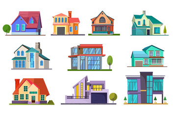 Fototapeta Apartment house set. Building, cottage, villa. Architecture concept. Vector illustrations can be used for topics like real estate, facade, residence, neighborhood obraz