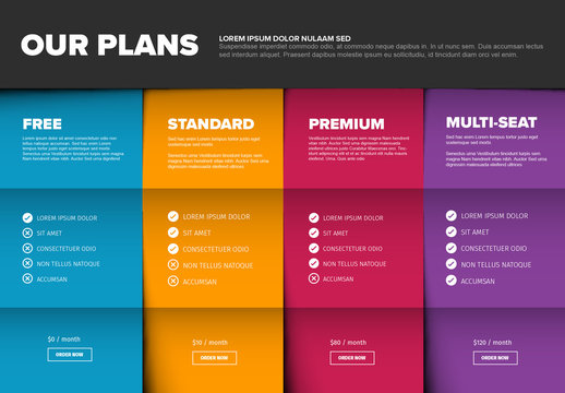 Plan Comparason Infographic Layout