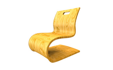 3d illustration of a modern wooden chair isolated on white