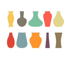 A large collection of ceramic, glass vases of different eras.