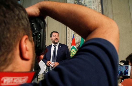 League leader Matteo Salvini speaks to the media after consultations with Italian President Sergio Mattarella in Rome