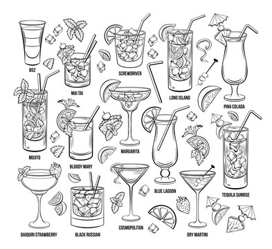 Summer Alcoholic Cocklails Set. Hand Drawn Beverages or Drinks. Engraving Menu or Poster for Beach Party vector illustration. Cosmopolitan, margarita, Pina Colada, Long island, Bloody Mary, mai tai
