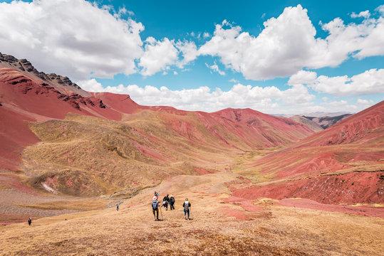 Trekking through the Red Valley, Vinicunca Rainbow Mountain, Cusco, Peru