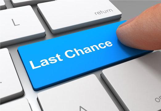 last chance push button concept 3d illustration