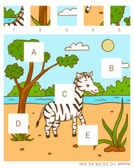 Find the missing pieces. Zebra.