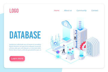 Database landing page isometric vector template. Internet of things, data server storage 3d web banner. Wireless technologies, telecommunication. Cloud computing service website homepage layout. Wall mural