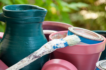 Close up_painted_flower pots and jug_brush_paint pots__by jziprian