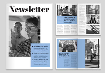 Newsletter Layout with Blue Elements