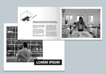 Black and White Business Brochure Layout with Line Illustrations