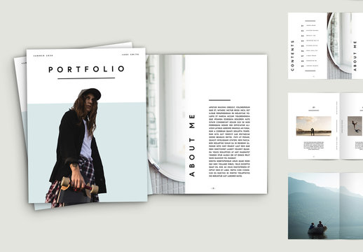 Portfolio Layout with Yellow Text Accents