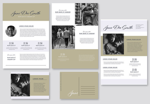 Media Kit Layout Set with Natural Color Elements