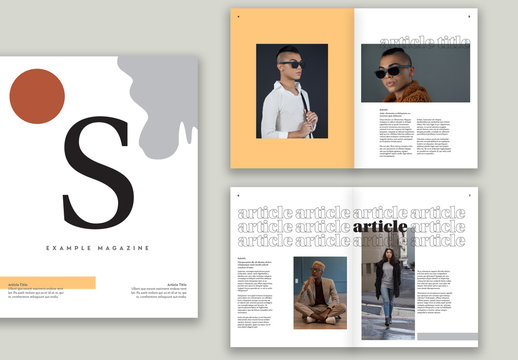 Magazine Layout with Neutral Colors and Typography Accents