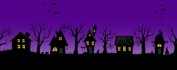 Halloween houses. Spooky village. Seamless border. Black silhouettes of houses and trees on a purple background. There are also bats, pumpkins and a cat in the picture. Vector illustration